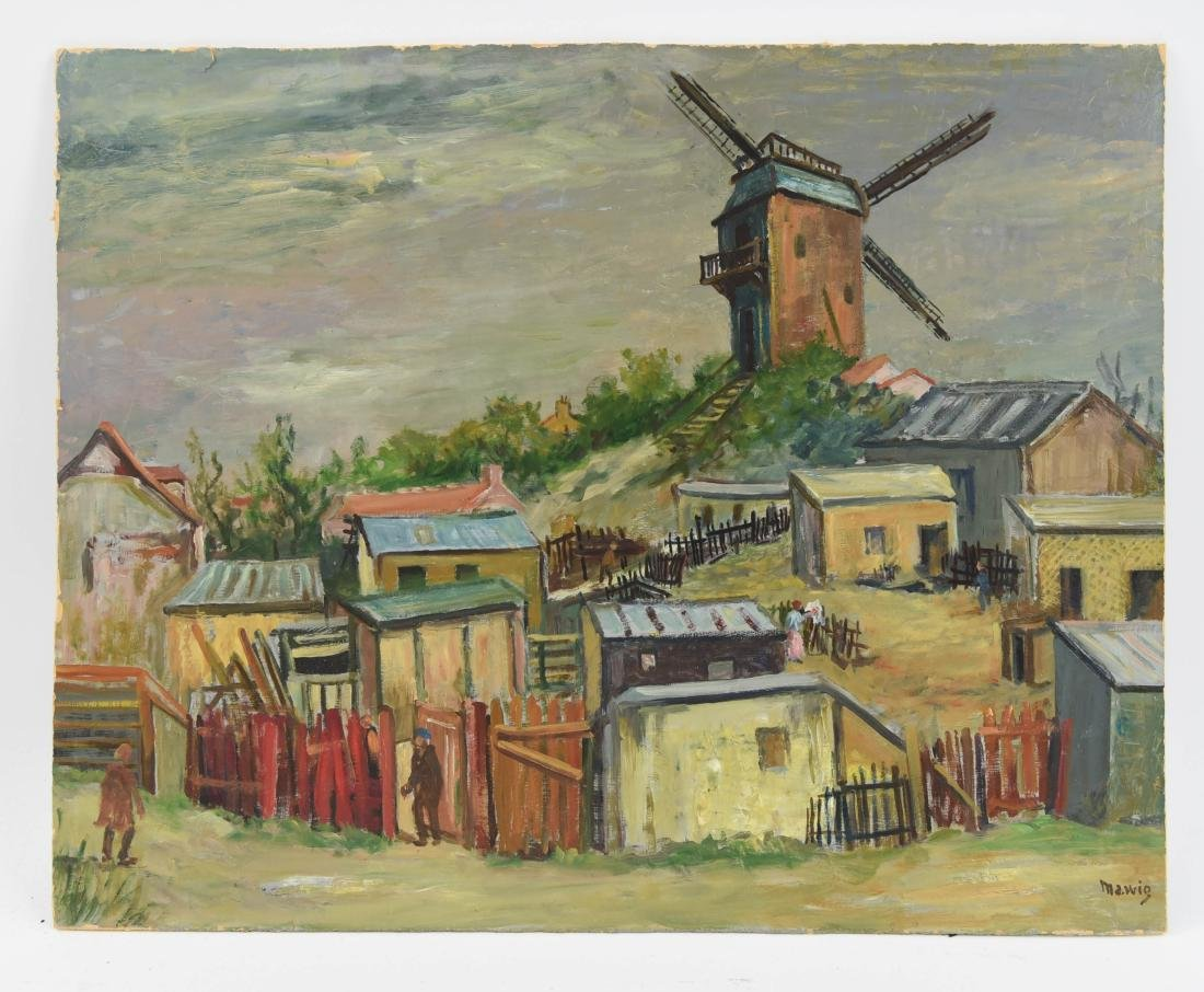 MAWIG (FRENCH 1890-1972) WINDMILL ON A HILL
