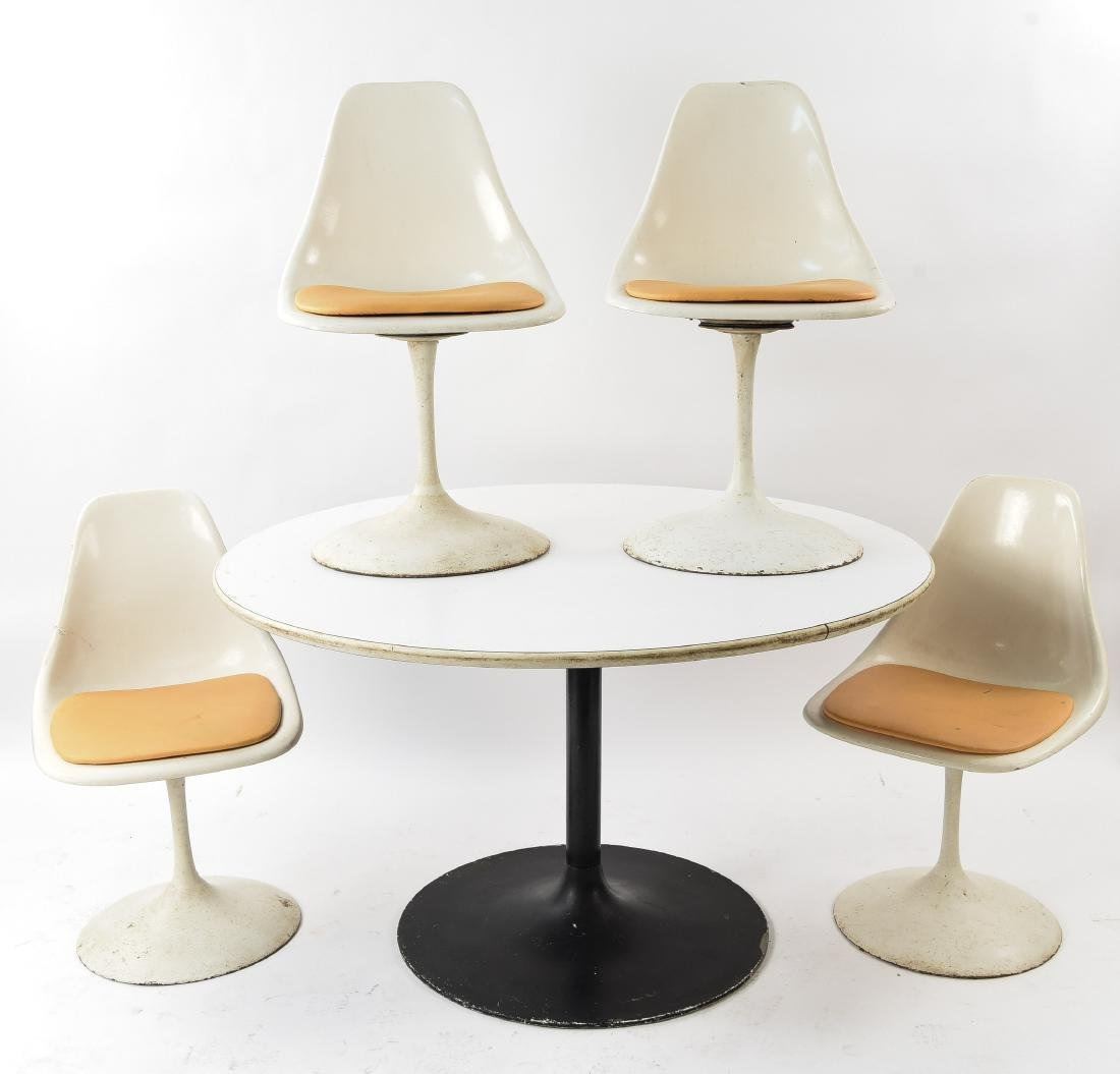 VINTAGE SAARINEN STYLE TULIP TABLE AND CHAIRS