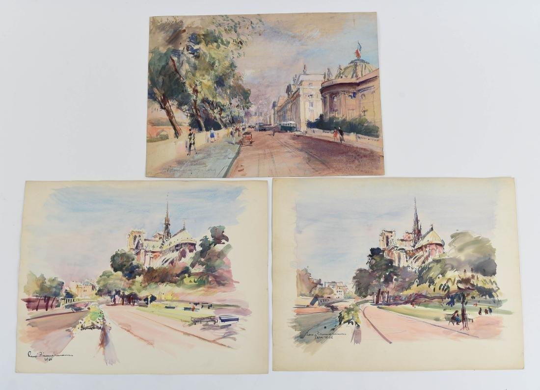 (3) RENE ZIMMERMAN (1904-1991) PARIS WATERCOLORS