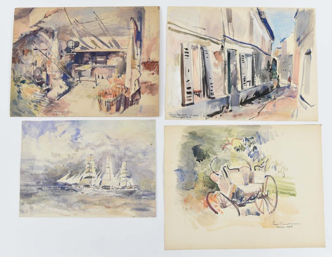 (4) RENE ZIMMERMAN (FRENCH 1904-1991) WATERCOLORS