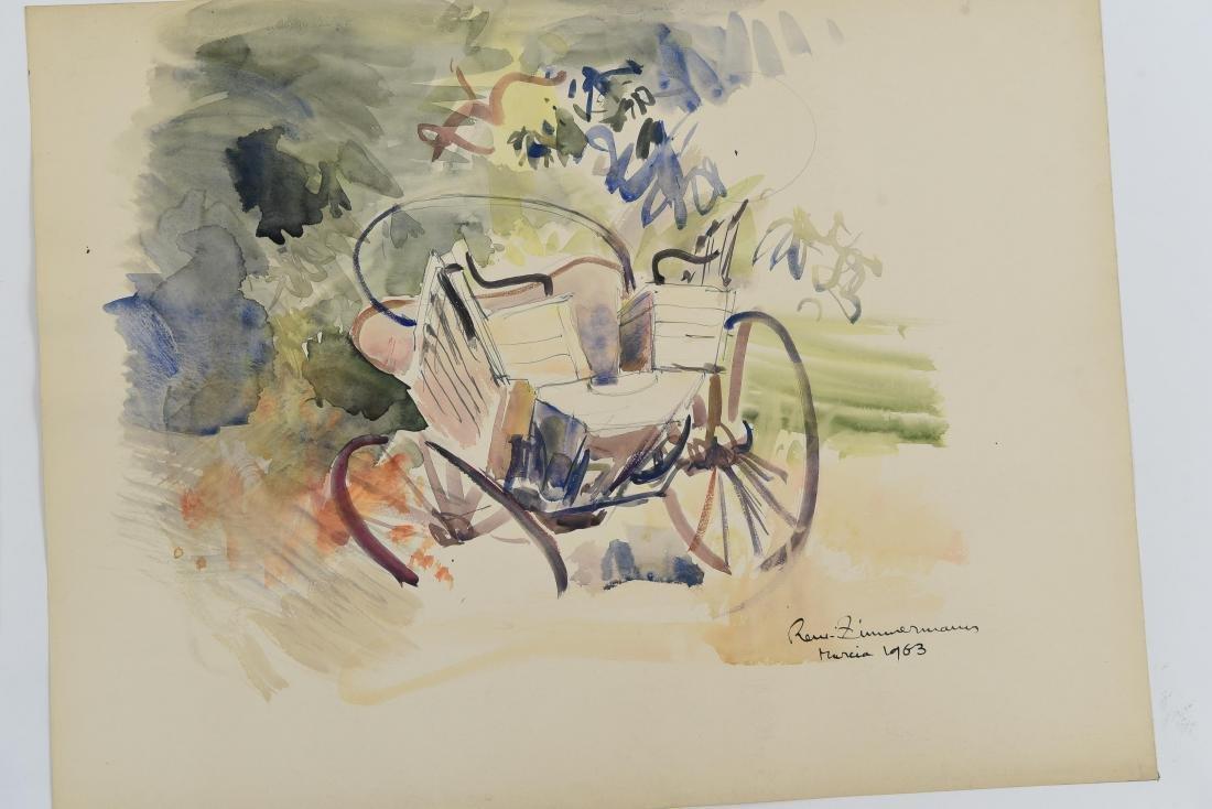 (4) RENE ZIMMERMAN (FRENCH 1904-1991) WATERCOLORS - 2