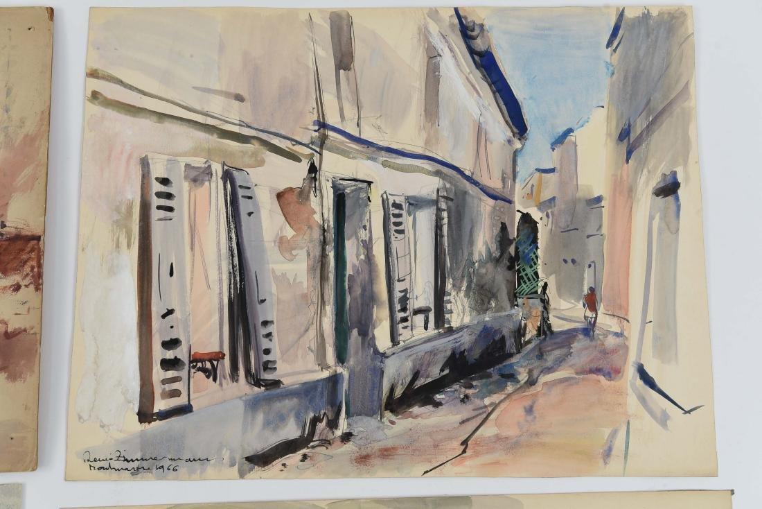 (4) RENE ZIMMERMAN (FRENCH 1904-1991) WATERCOLORS - 4