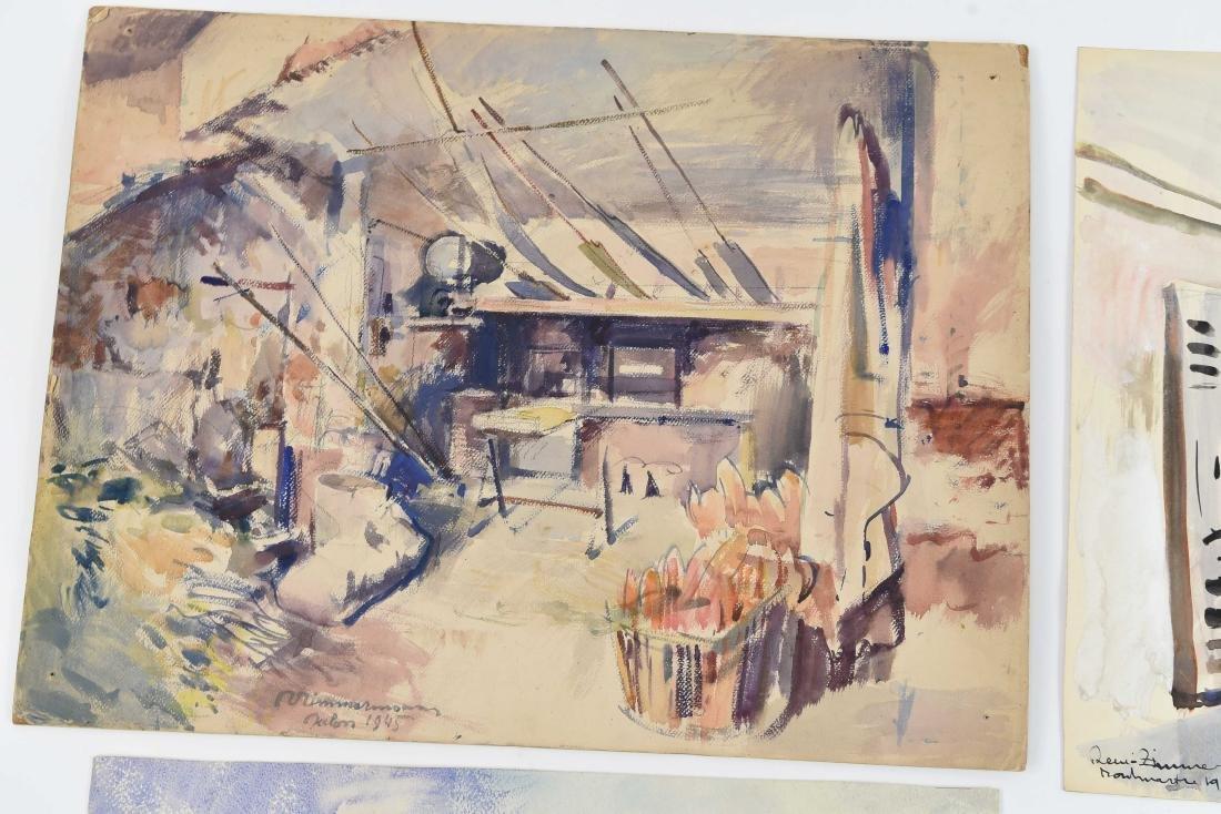 (4) RENE ZIMMERMAN (FRENCH 1904-1991) WATERCOLORS - 5