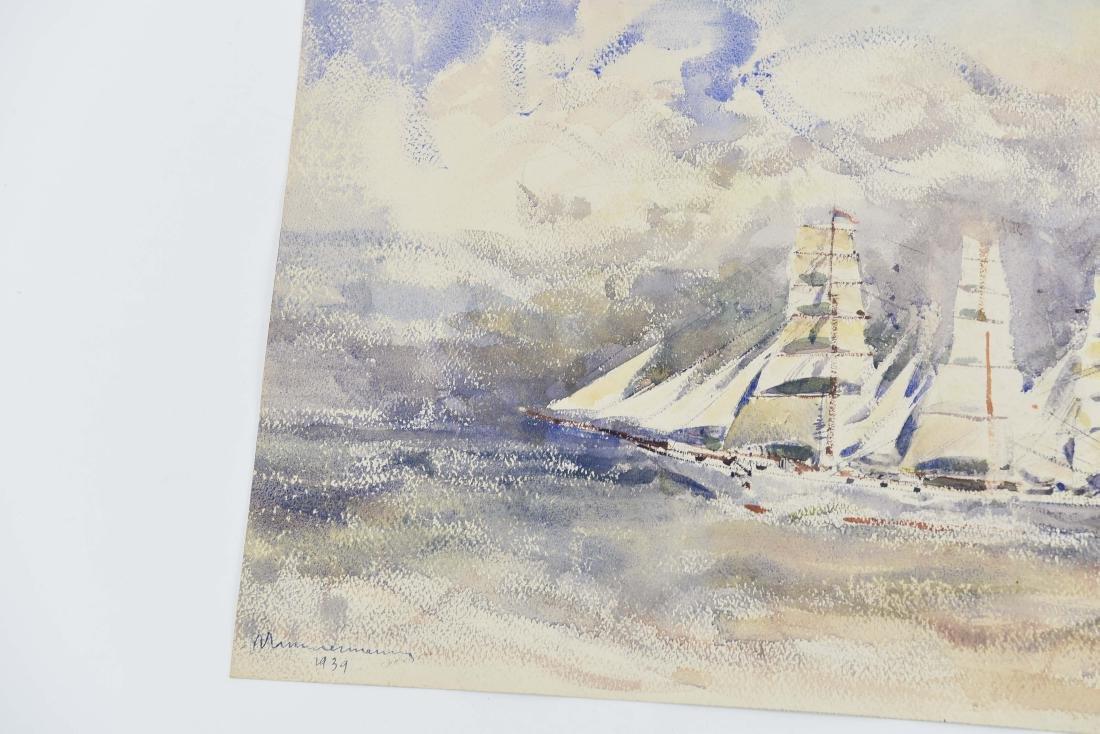 (4) RENE ZIMMERMAN (FRENCH 1904-1991) WATERCOLORS - 8