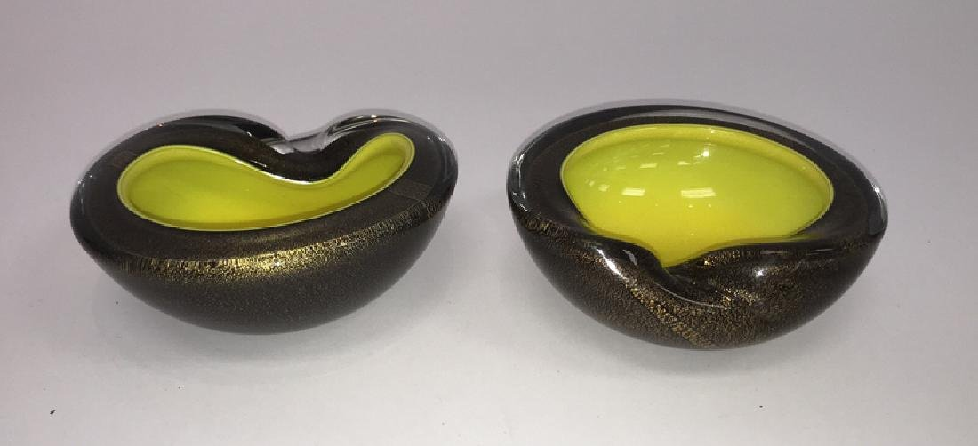 PAIR OF BARBINI ART GLASS BOWLS ASHTRAYS