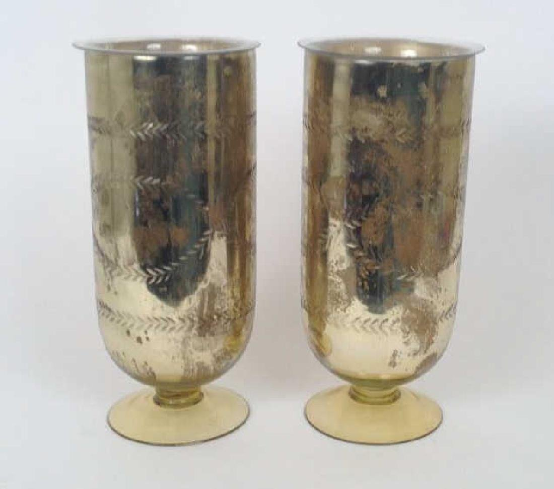 PAIR OF RALPH LAUREN FOXED MIRROR GLASS VASES