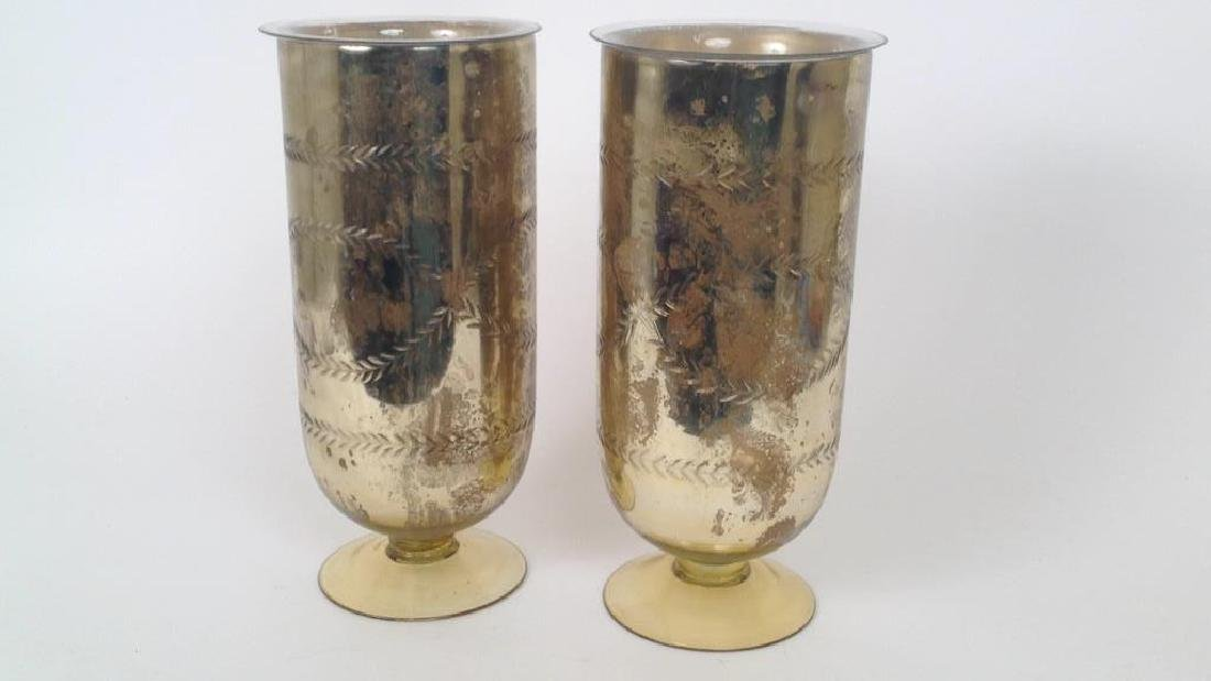PAIR OF RALPH LAUREN FOXED MIRROR GLASS VASES - 2