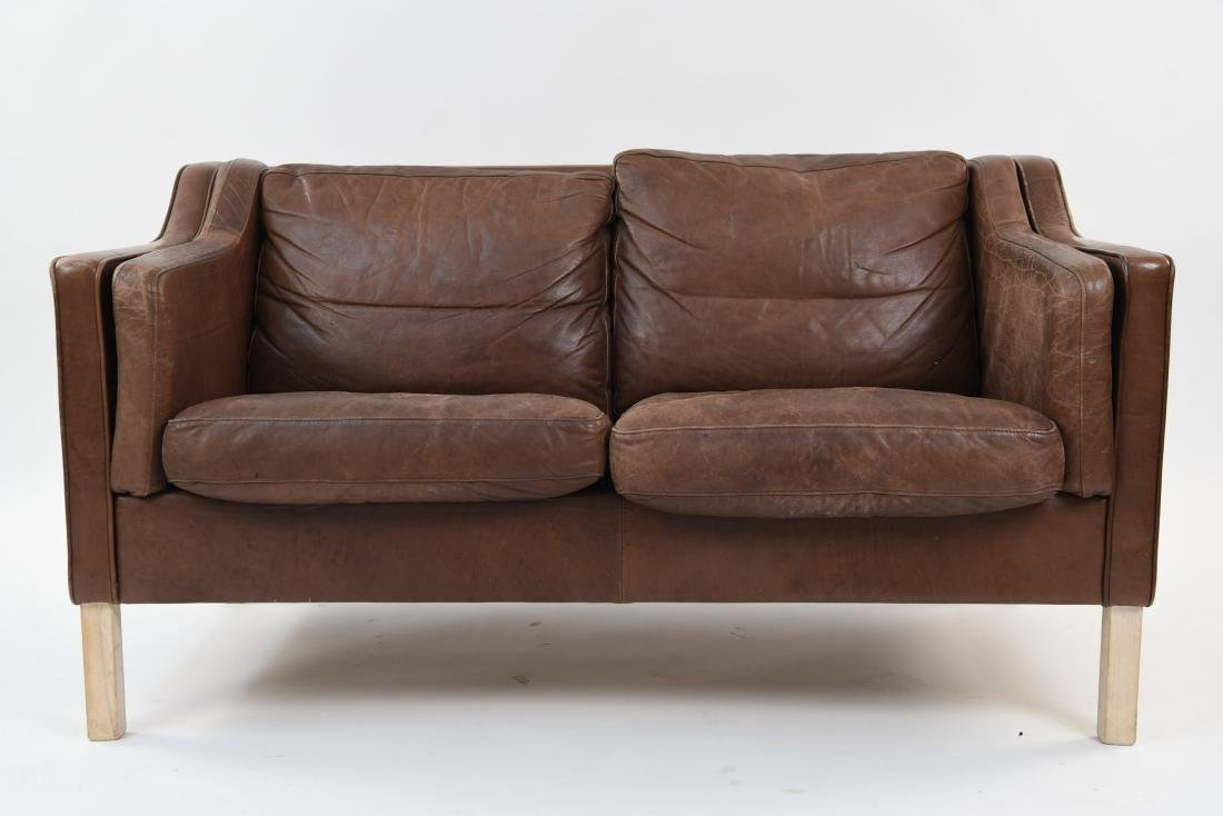 MOGENS HANSEN DANISH LEATHER SOFA, 1980'S
