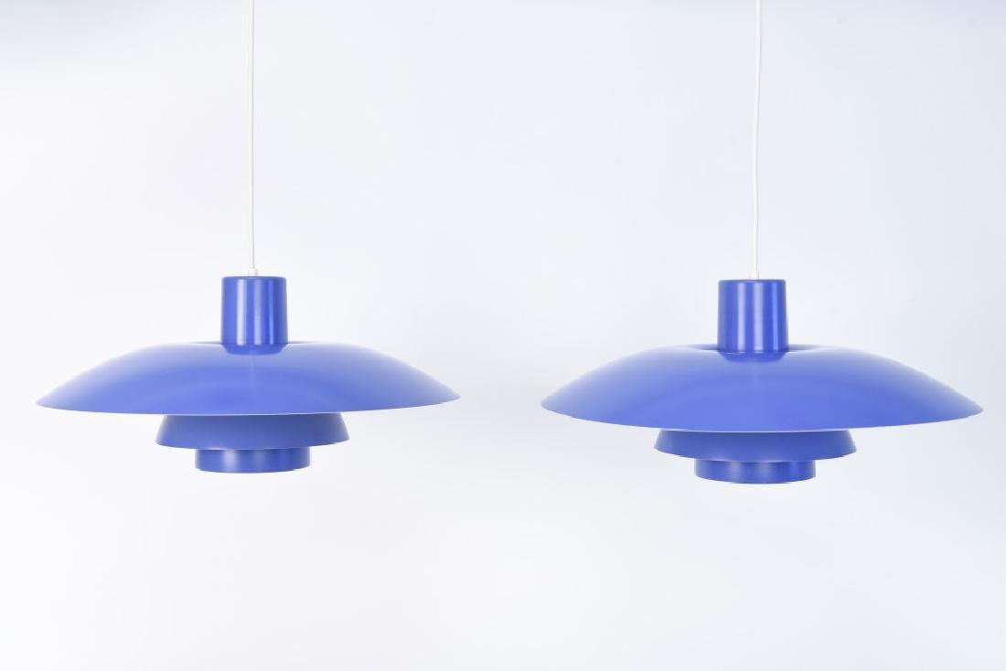 PAIR OF BLUE LOUIS POULSEN PH 4/3 LAMPS