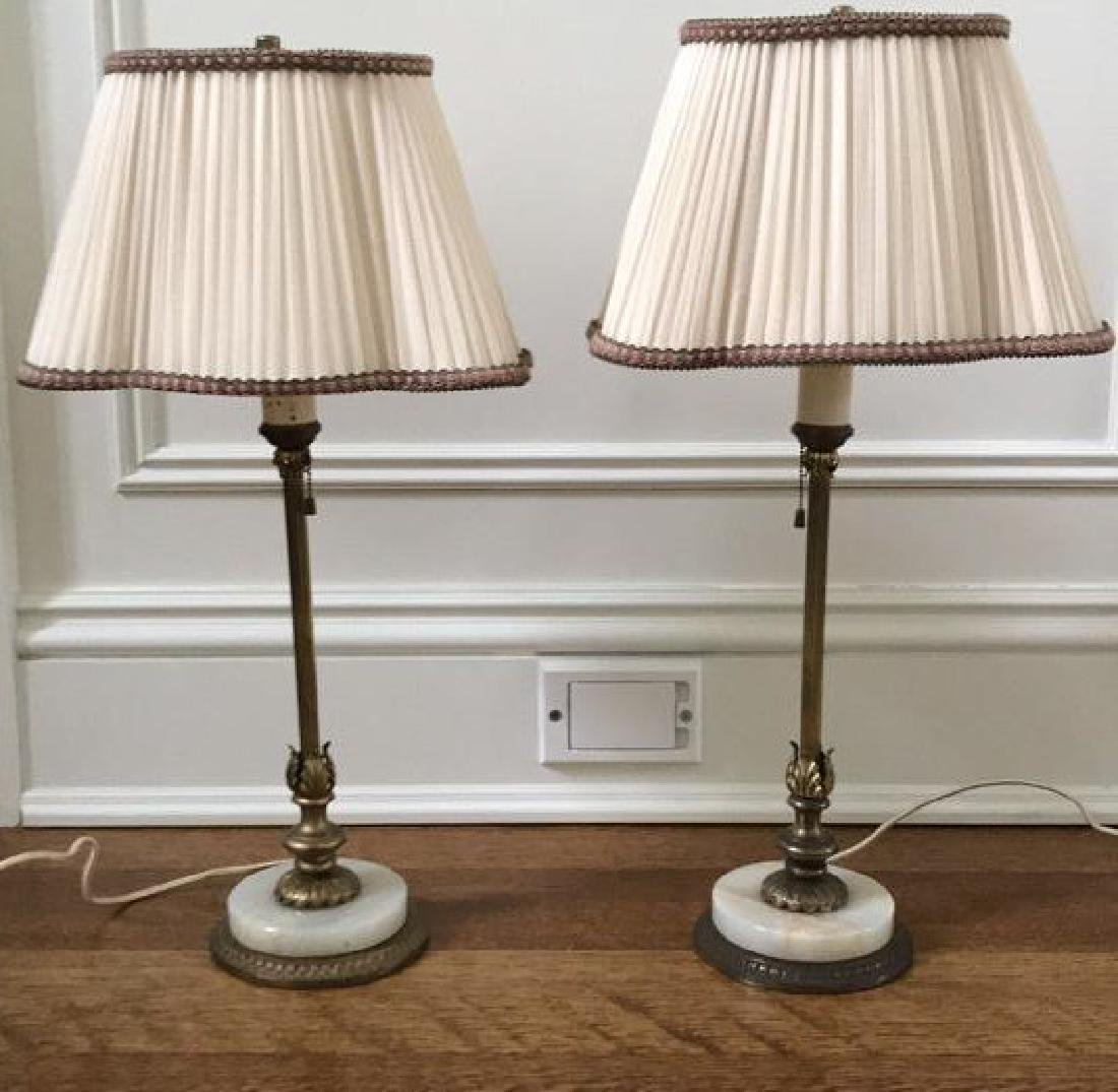 PAIR OF MARBLE BASE TABLE LAMPS