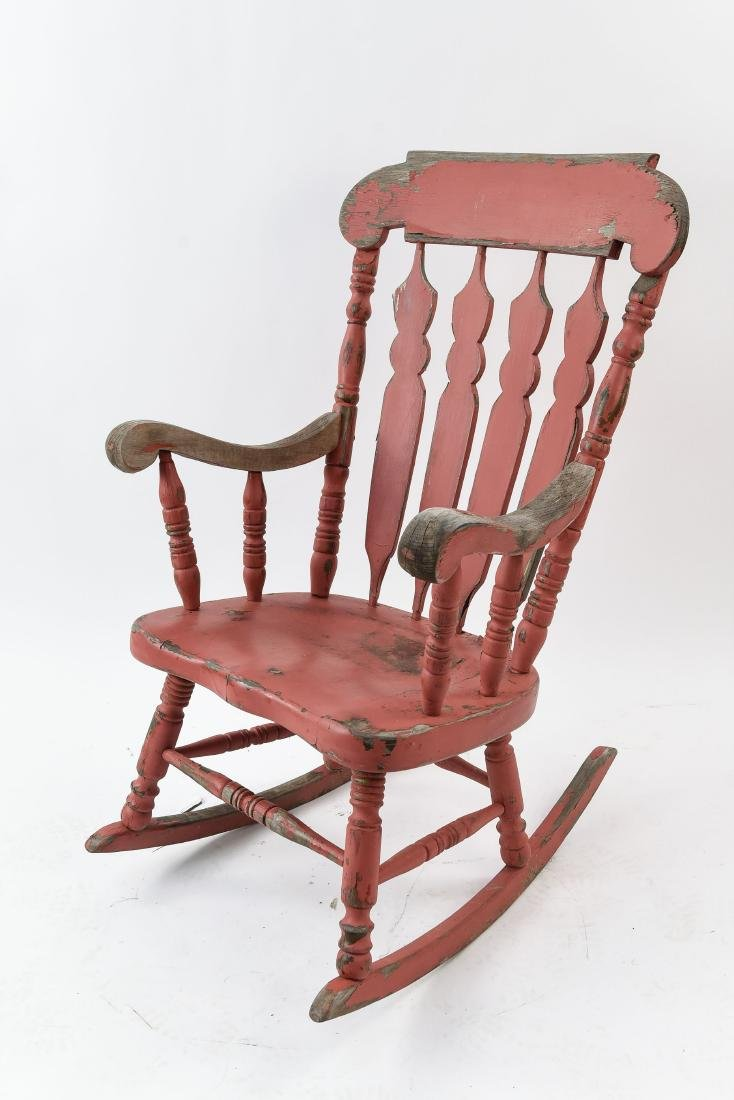 ROCKER WITH DISTRESSED PAINT FINISH