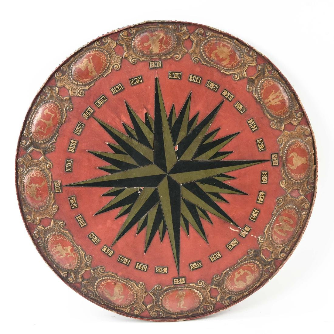 VINTAGE EMBOSSED LEATHER ZODIAC CHART TABLETOP