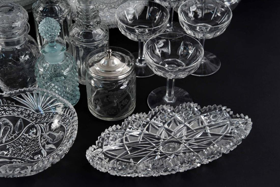GROUPING OF CRYSTAL, PRESSED & CUT GLASS - 10