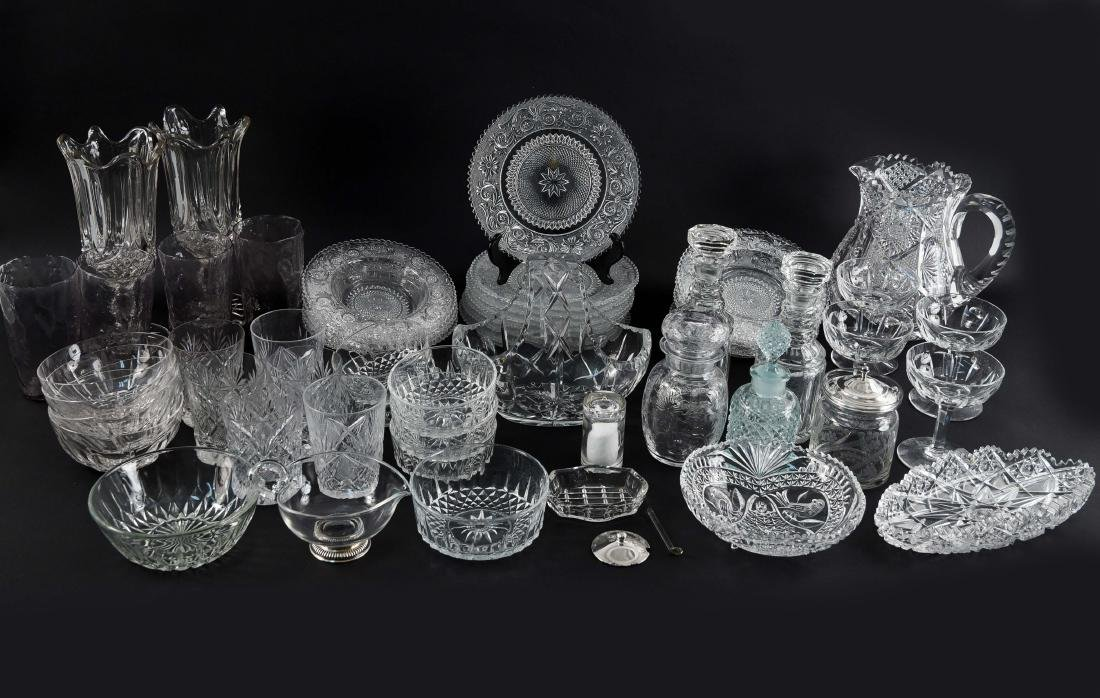 GROUPING OF CRYSTAL, PRESSED & CUT GLASS
