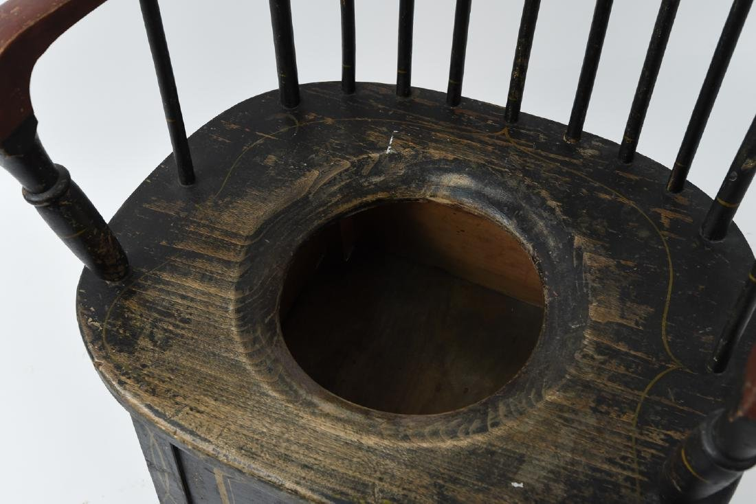 19TH C. PAINTED POTTY / COMMODE CHAIR - 8