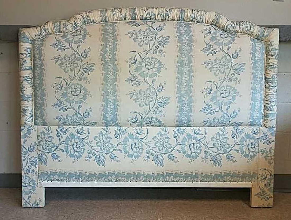 BLUE AND WHITE UPHOLSTERED HEADBOARD