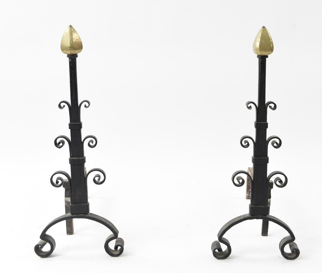 PAIR OF MODERN IRON AND BRASS ANDIRONS