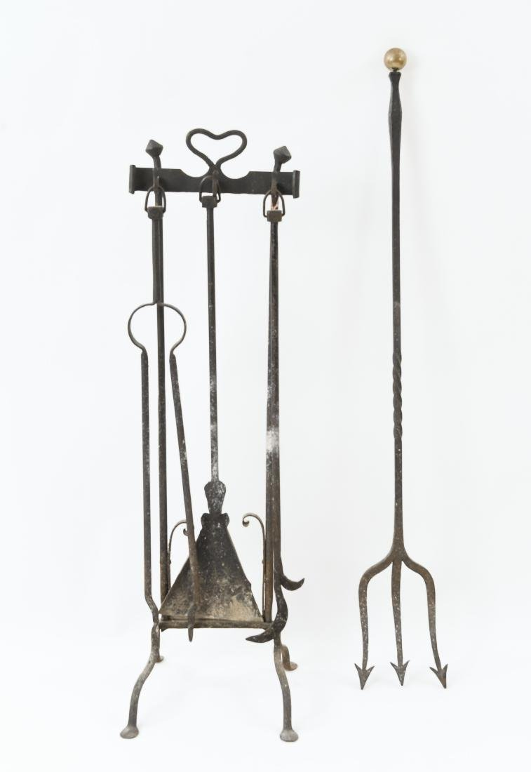 MODERN BRASS AND IRON FIRE TOOLS