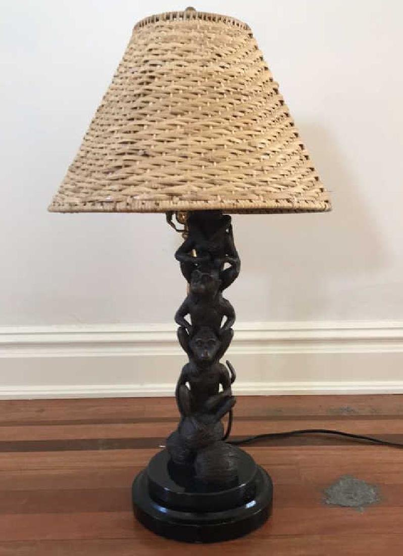 BRONZE AND MARBLE MONKEY LAMP