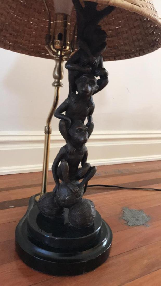 BRONZE AND MARBLE MONKEY LAMP - 2