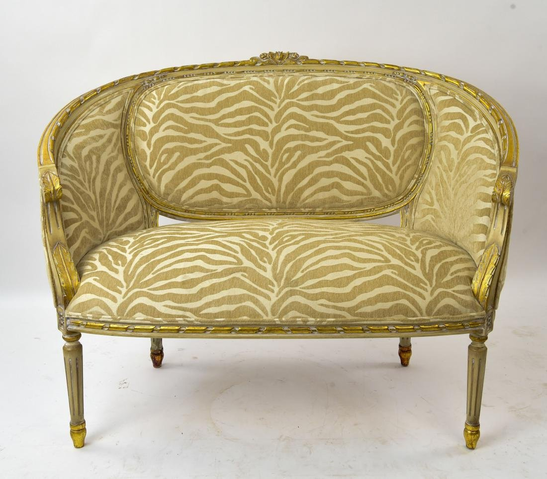 PAINTED AND UPHOLSTERED SETTEE - 2