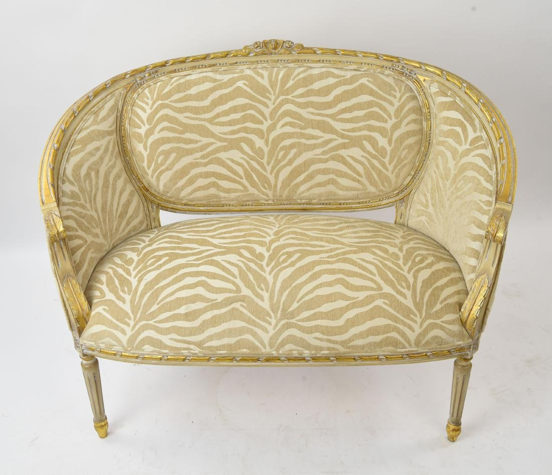 PAINTED AND UPHOLSTERED SETTEE - 3