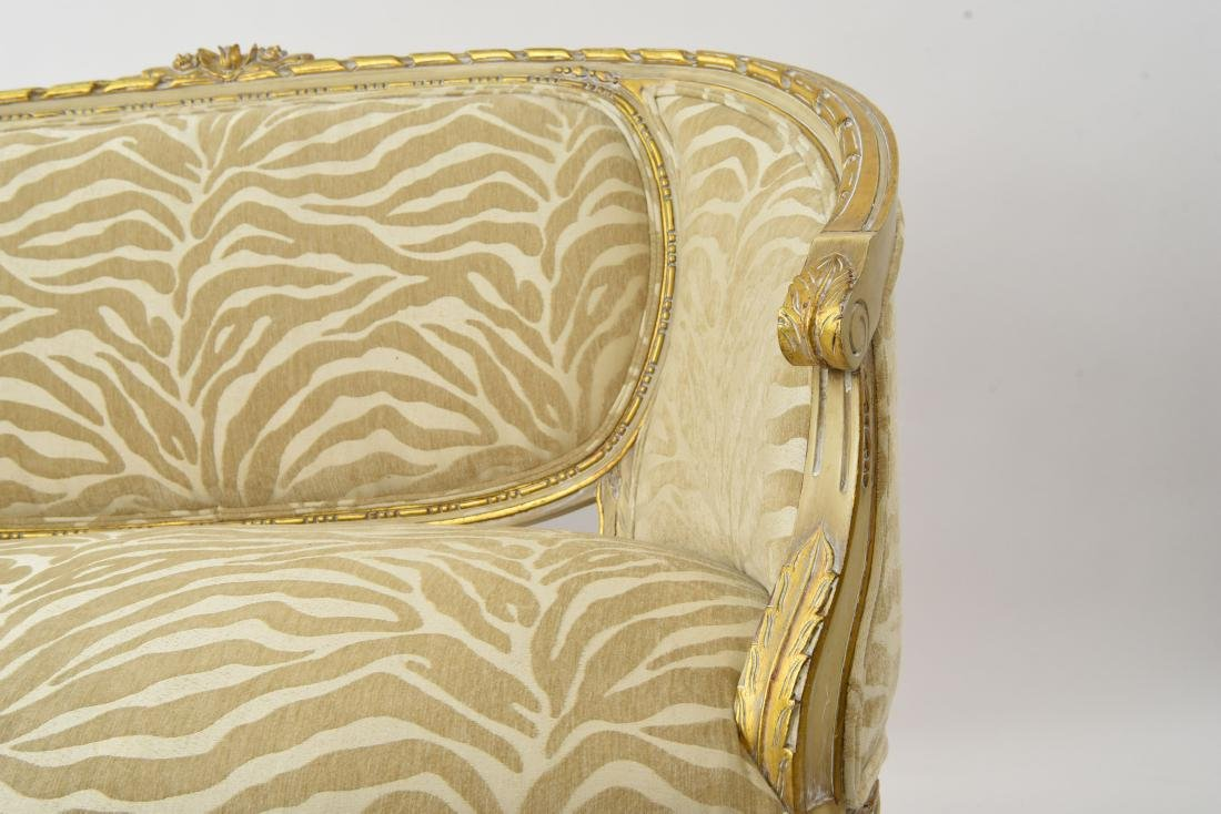 PAINTED AND UPHOLSTERED SETTEE - 7