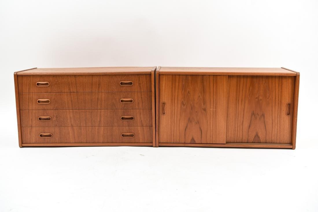 PAIR OF DANISH MID-CENTURY TEAK FLOATING CABINETS