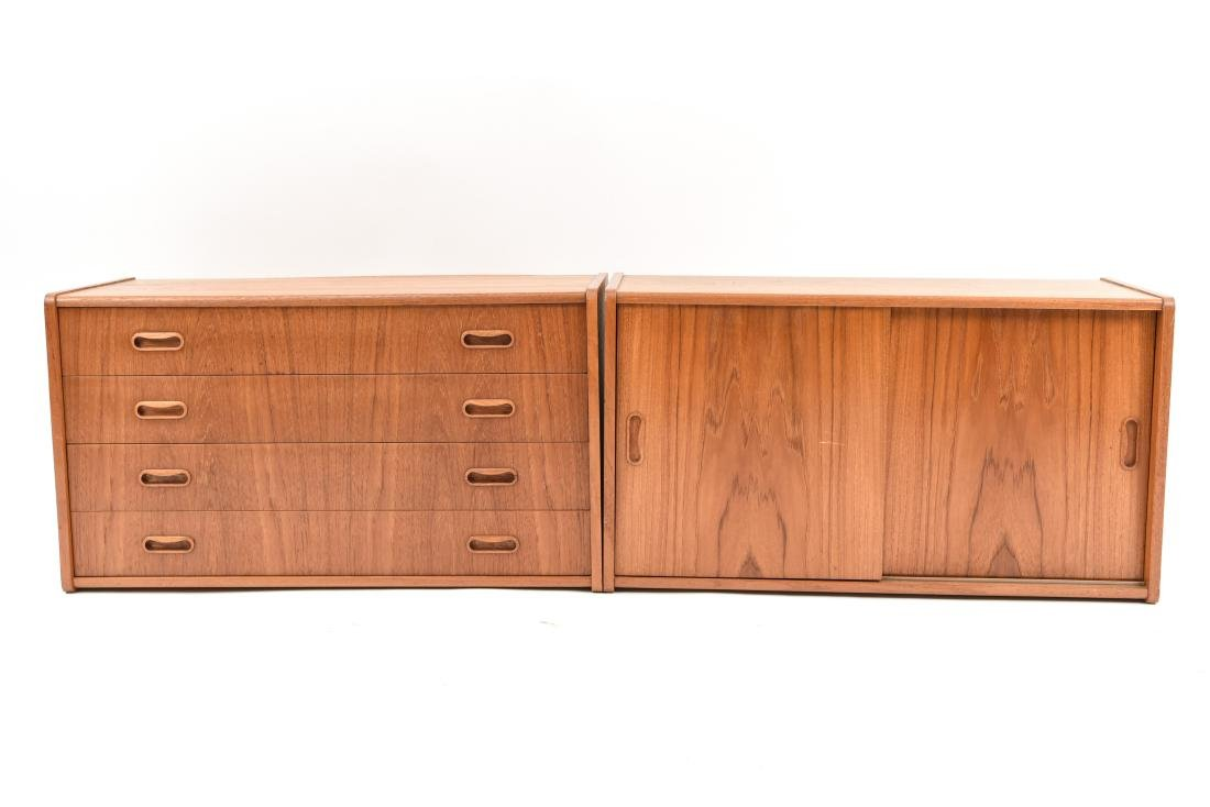 PAIR OF DANISH MID-CENTURY TEAK FLOATING CABINETS - 2
