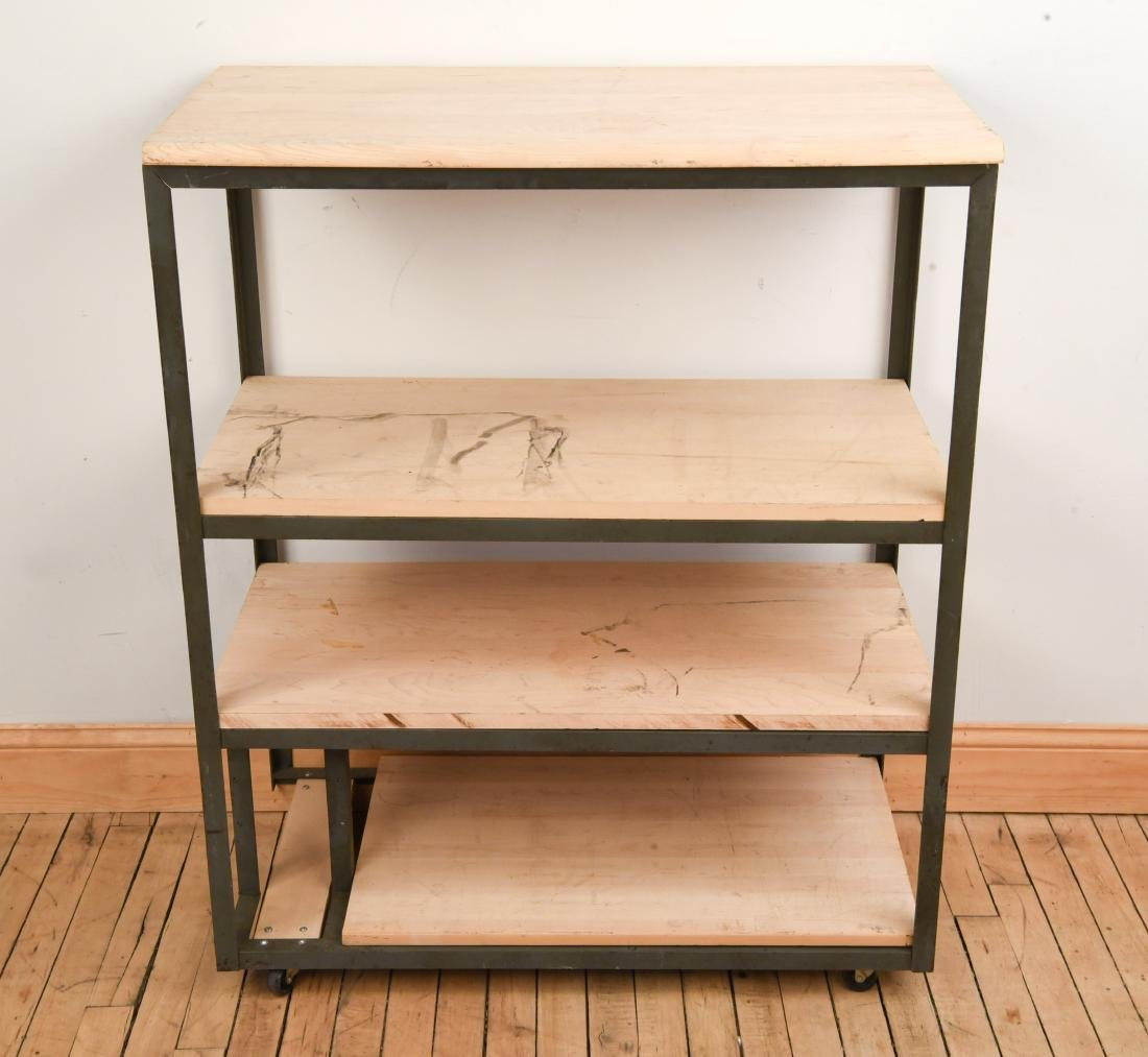 CIRCA 1950 US AIR FORCE RADIO RACK W MAPLE SHELVES
