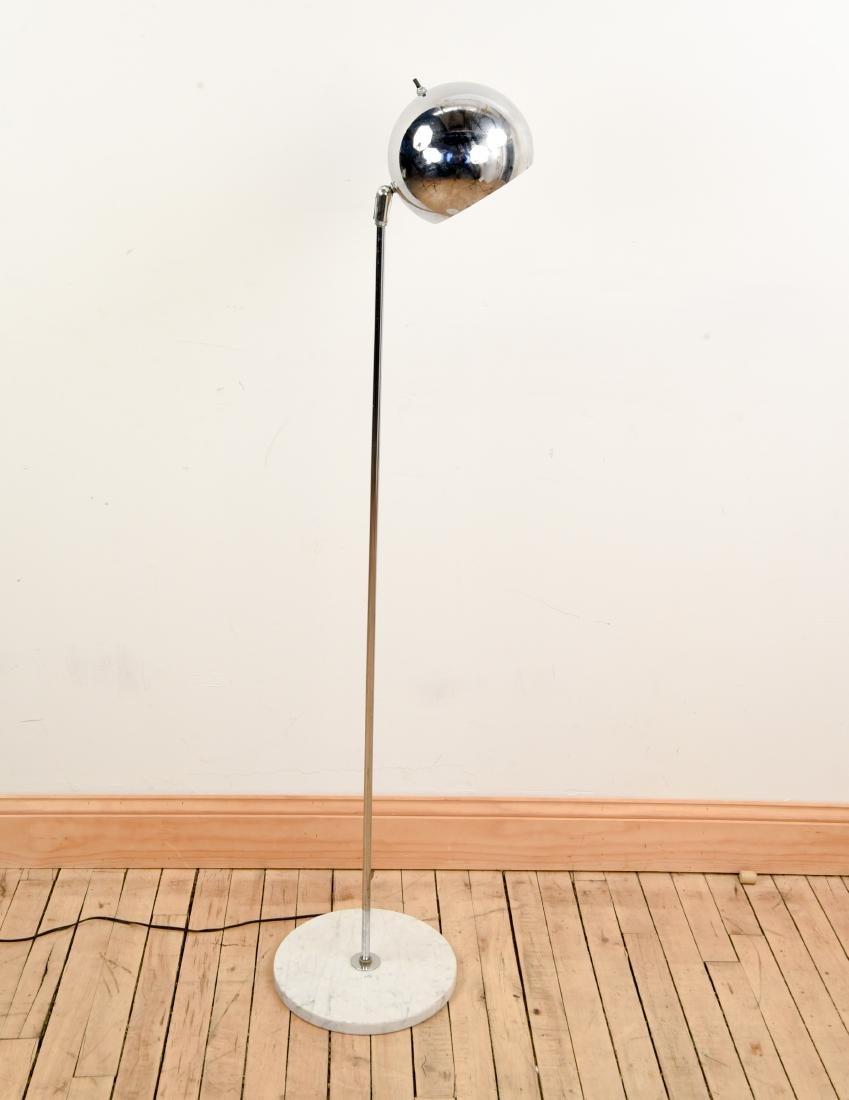 MID-CENTURY CHROME LAMP W/ MARBLE BASE
