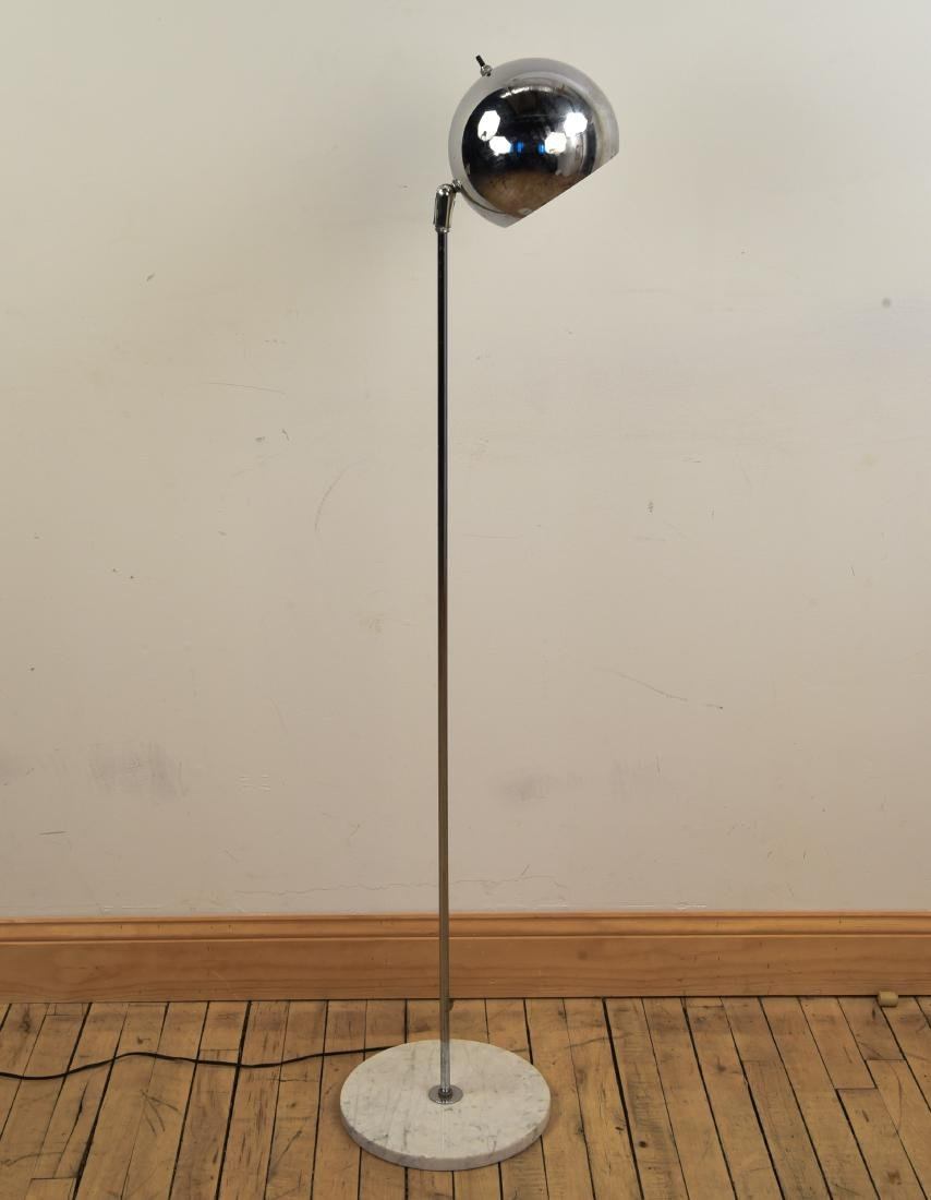 MID-CENTURY CHROME LAMP W/ MARBLE BASE - 2