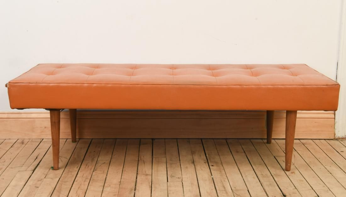 MID CENTURY TUFTED BENCH