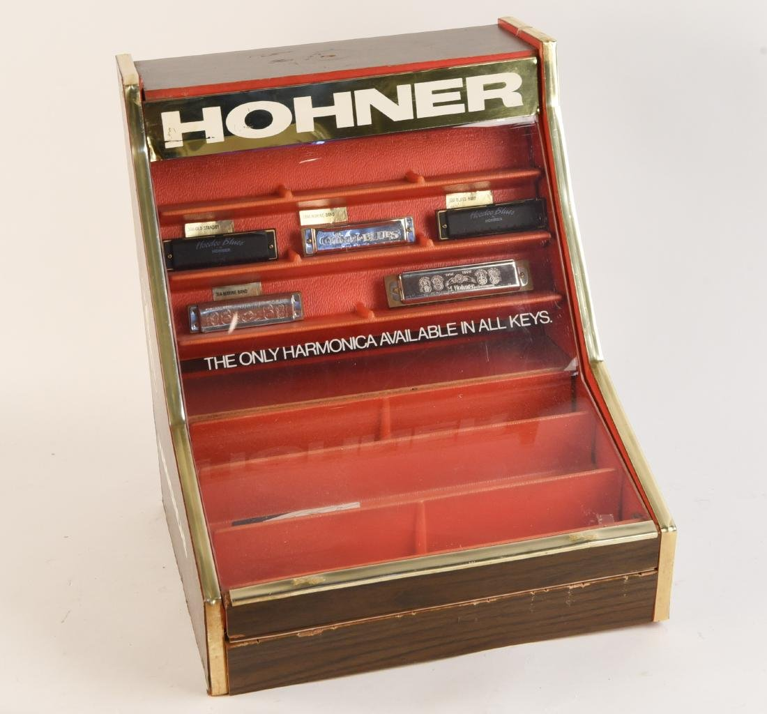 VINTAGE HOHNER DISPLAY AND VARIOUS HARMONICAS