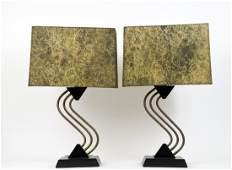 PAIR OF MID-CENTURY MODERN METAL & WOOD LAMPS