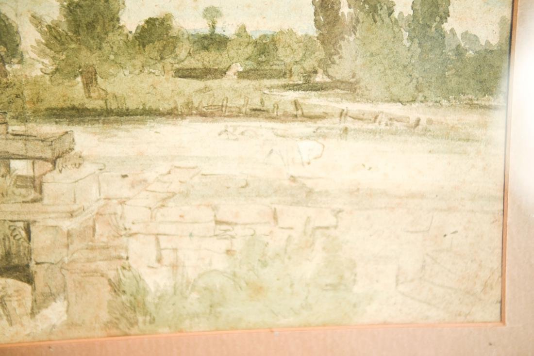 19TH CENTURY WATERCOLOR OF MILL - 3