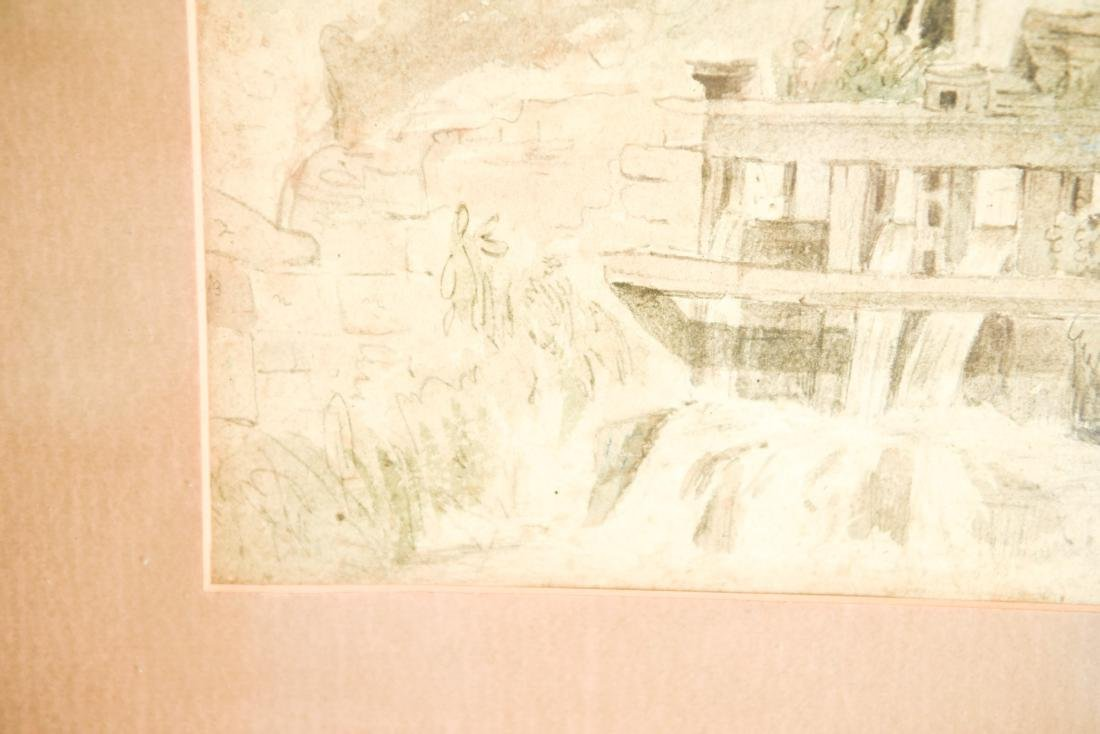 19TH CENTURY WATERCOLOR OF MILL - 4