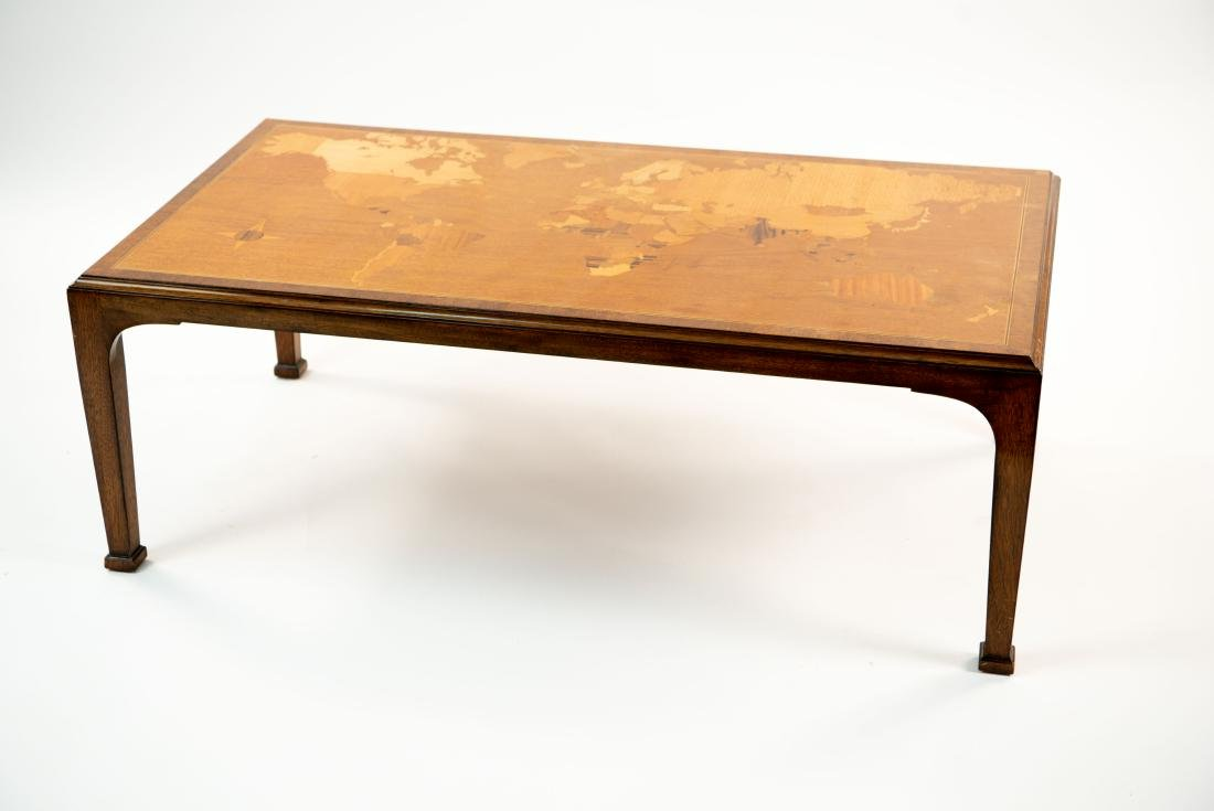 SMITH & WATSON COFFEE TABLE W/ MAP OF WORLD INLAY