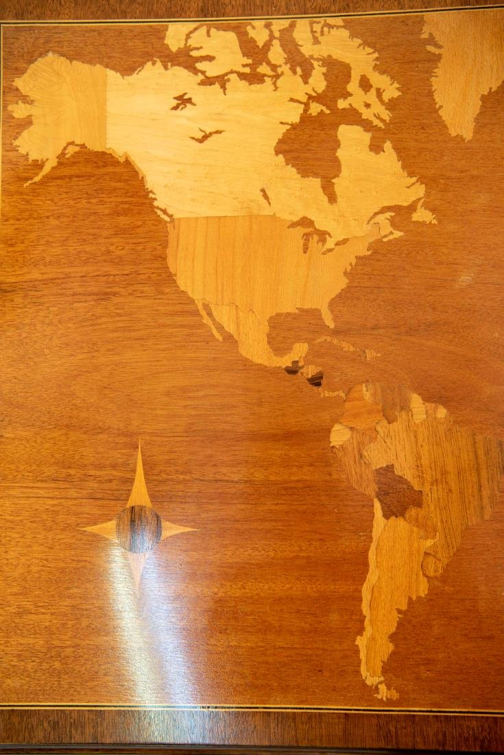 SMITH & WATSON COFFEE TABLE W/ MAP OF WORLD INLAY - 3