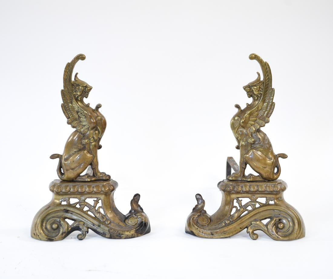 ANTIQUE BRASS GRIFFIN ANDIRONS