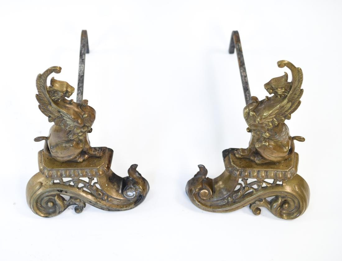 ANTIQUE BRASS GRIFFIN ANDIRONS - 2