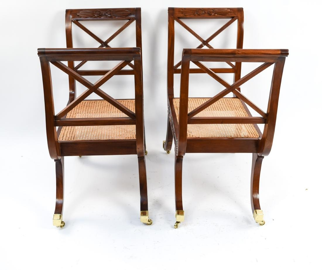 PAIR OF REGENGY STYLE CANE SEAT BENCHES - 17