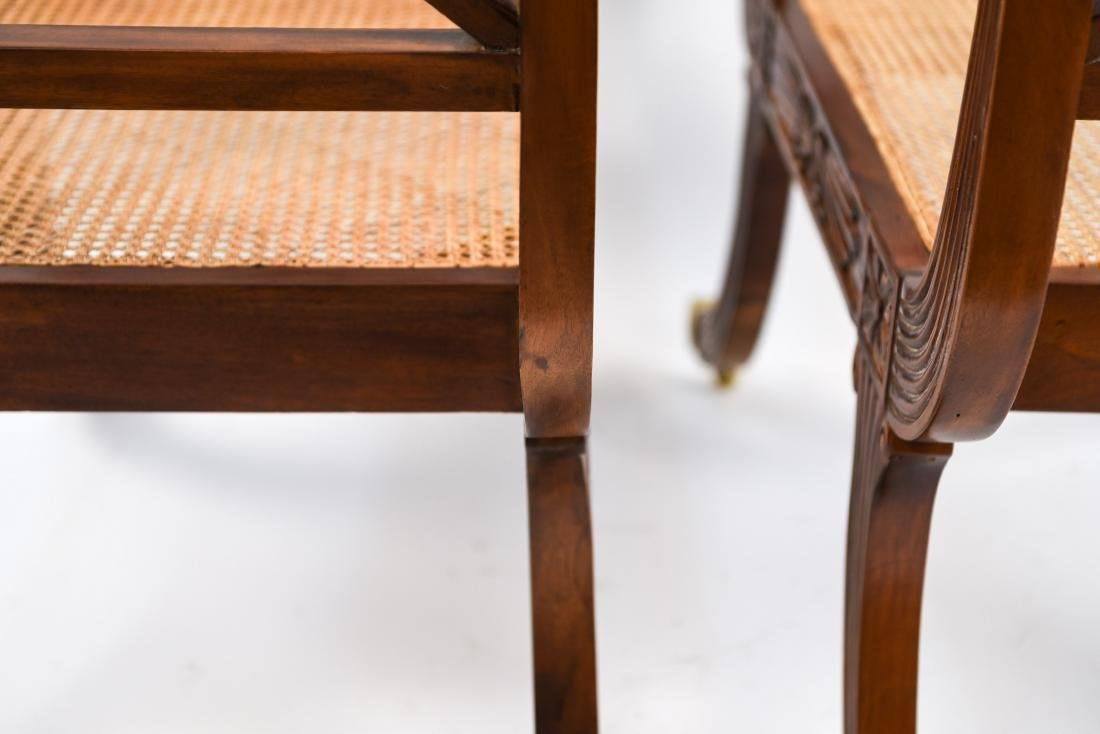 PAIR OF REGENGY STYLE CANE SEAT BENCHES - 18
