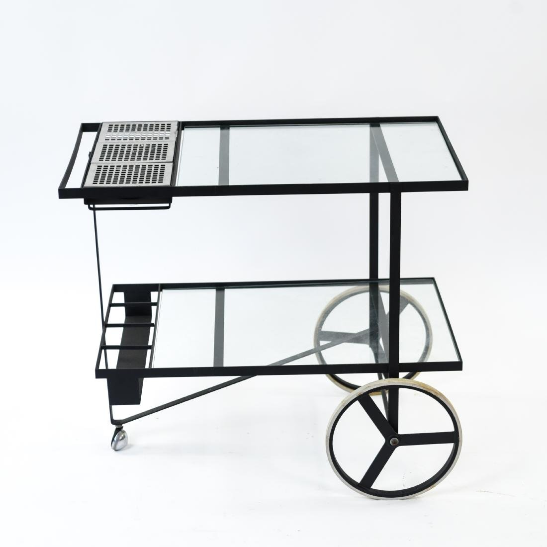 MID-CENTURY IRON AND GLASS SERVING CART