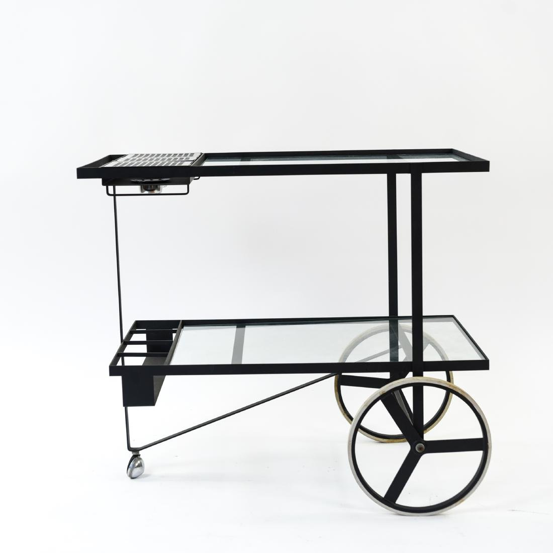 MID-CENTURY IRON AND GLASS SERVING CART - 2