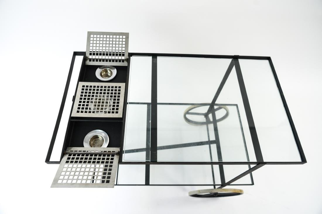 MID-CENTURY IRON AND GLASS SERVING CART - 4