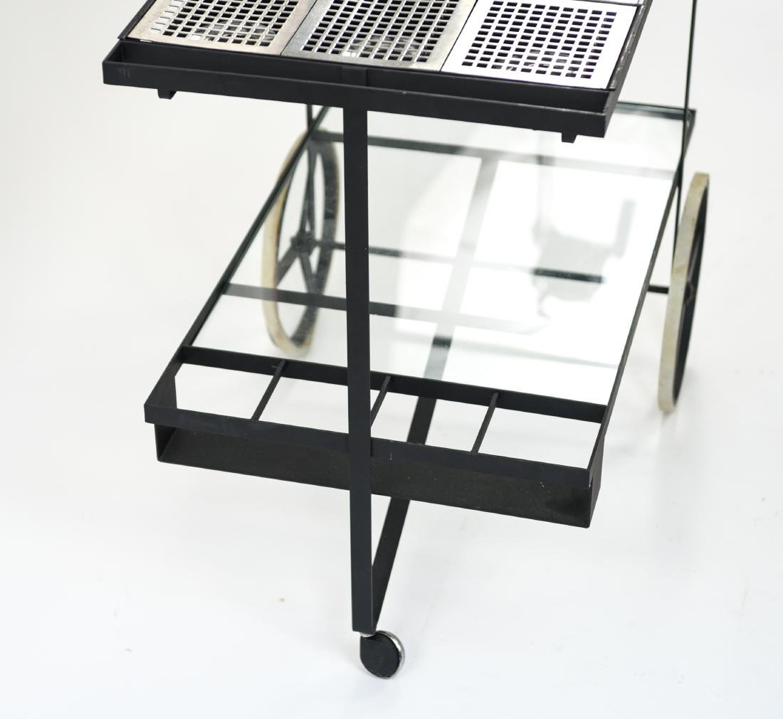 MID-CENTURY IRON AND GLASS SERVING CART - 7