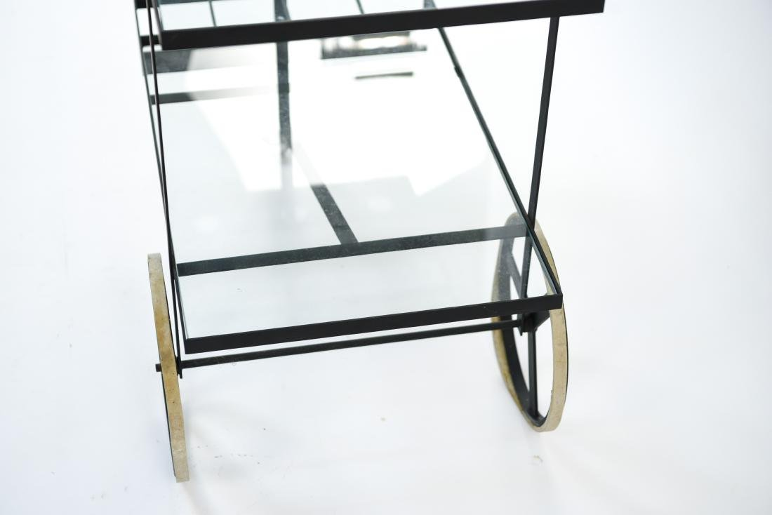 MID-CENTURY IRON AND GLASS SERVING CART - 8