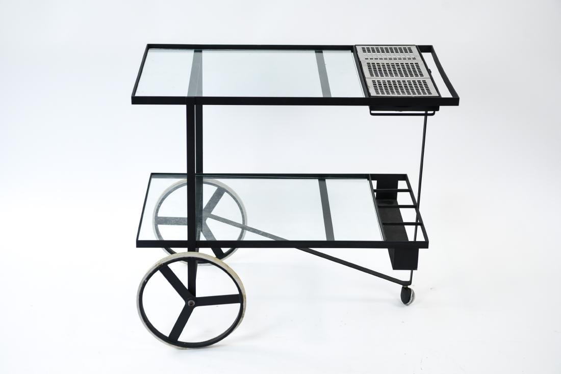 MID-CENTURY IRON AND GLASS SERVING CART - 9