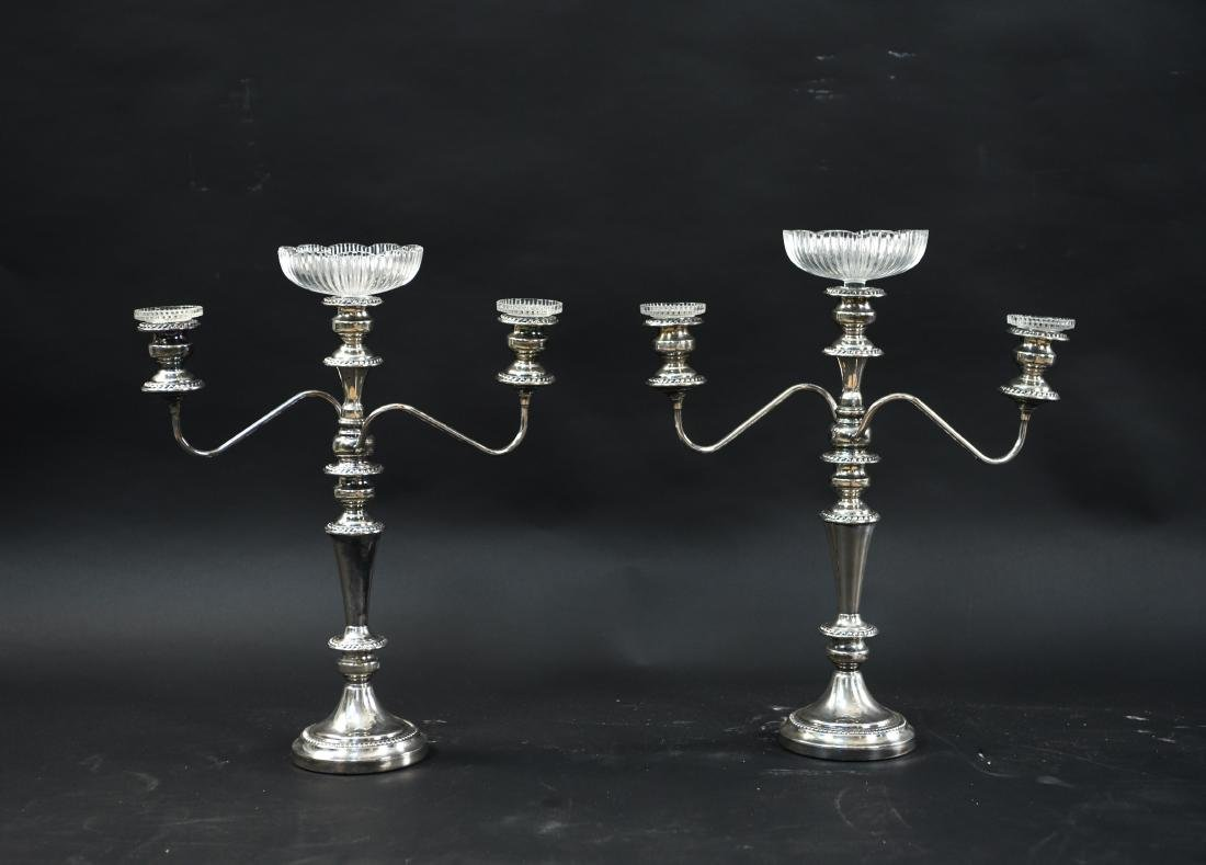 PAIR OF SILVER PLATE CANDLEABRAS